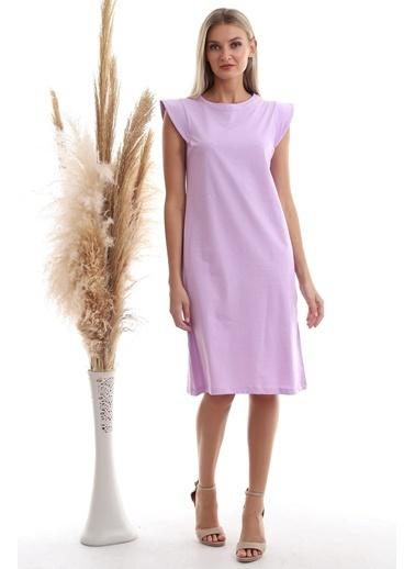 Cottonmood 20333416 Süprem Omuzu Telalı Elbise Cagla Yesil Lila